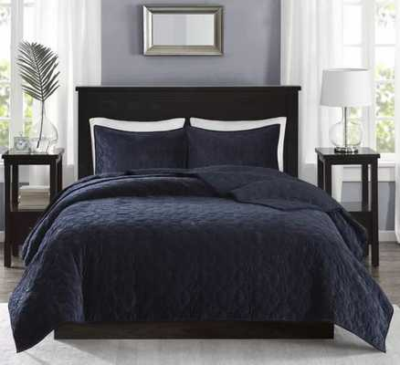 Chariton Faux Velvet Coverlet Set - Full/Queen - Wayfair