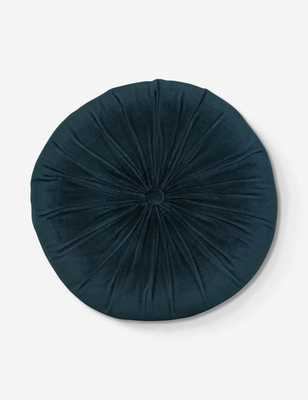 MONROE VELVET ROUND PILLOW, navy - Lulu and Georgia