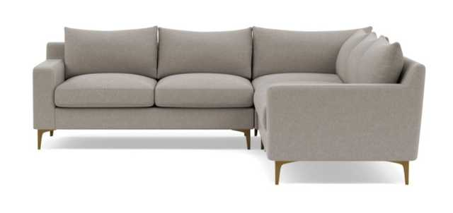 "Sloan Corner 4 Seat Sectional Sofa - Iron Performance Basketweave/ Brass Plated L Leg - 121"" - Upgraded Down Alternative Blend Cushions - Interior Define"