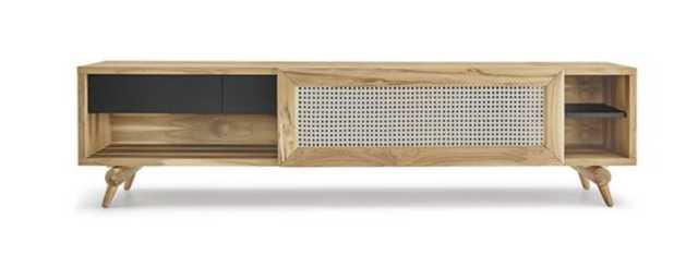 Natalia Plot Coastal Beach Brown Rattan Teak Wood Media Console - Kathy Kuo Home