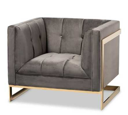 BAXTON STUDIO AMBRA GLAM AND LUXE GREY VELVET FABRIC UPHOLSTERED AND BUTTON TUFTED ARMCHAIR WITH GOLD-TONE FRAME - Lark Interiors