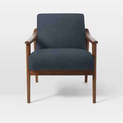 Mid-Century Show Wood Upholstered Chair, Twill, Indigo - West Elm