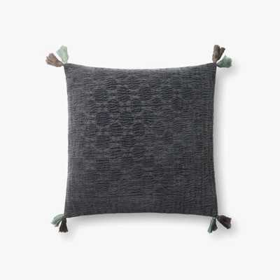 """Loloi PILLOWS P0568 Charcoal 18"""" x 18"""" Cover w/Poly - Loma Threads"""