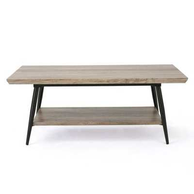 Canyon Gray Wood and Metal Coffee Table with Shelf - Home Depot
