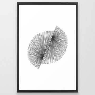 "Black and White Mid Century Modern Geometric Abstract Framed Art Print, 26"" x 38"" - Society6"