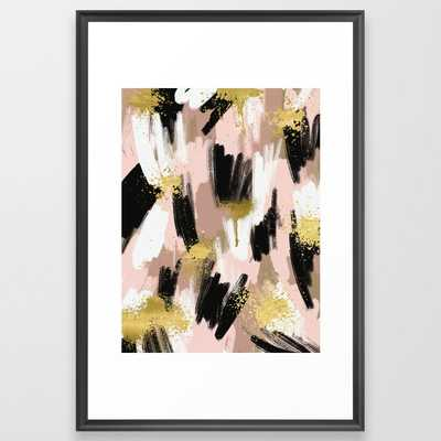 Blush and Gold Abstract Framed Art Print - Society6