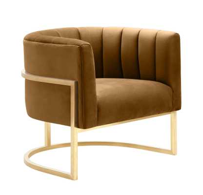 Adaline Cognac Velvet Chair - Maren Home