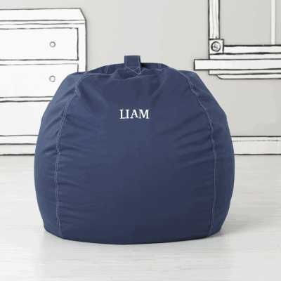 Personalized Large Dark Blue Bean Bag Chair - Crate and Barrel