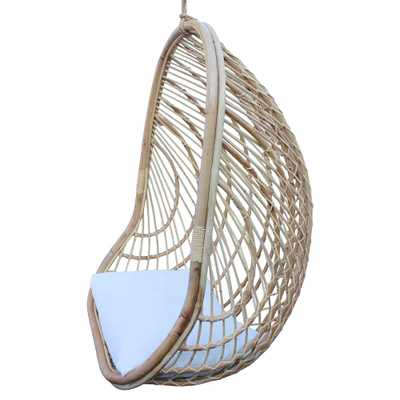 Bethany Coastal Beach Brown Rattan Hanging Outdoor Egg Chair - Kathy Kuo Home