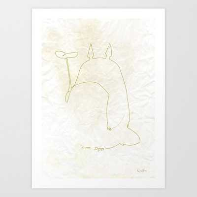 One line Totoro Art Print 8x10 - Society6