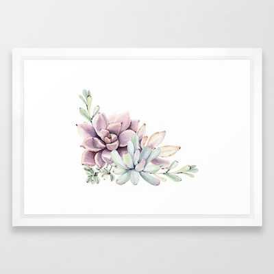 """Desert Succulents on White Framed Art Print - Vector white - 15"""" X 21"""" - Society6"""