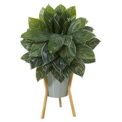 "25"" Silver Aglaonema Artificial Plant in Green Planter with Stand (Real Touch) - Fiddle + Bloom"