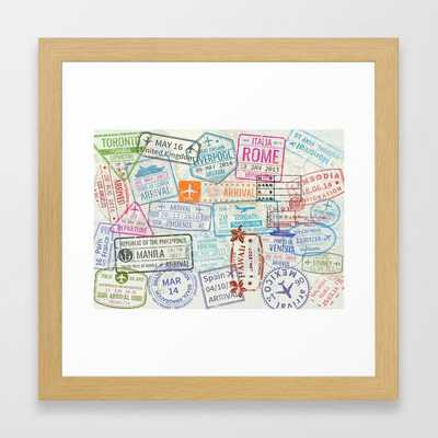 Vintage World Map with Passport Stamps Framed Art Print - Society6
