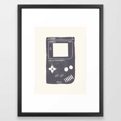"Game Boy Framed Art Print- Vector Black- 20"" X 26"" - Society6"
