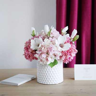 Faux Hydrangea and Magnolia Floral Arrangement in Ceramic Vase - Wayfair