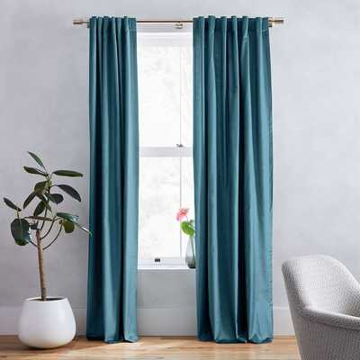 "Luster Velvet Curtain, Regal Blue, 48""X84"" - West Elm"