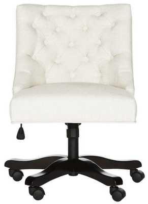 Soho Tufted Linen Swivel Desk Chair - Light Cream - Arlo Home - Arlo Home