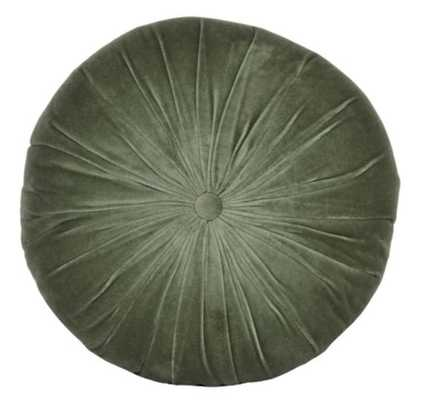 Monroe Velvet Round Pillow, Moss - Lulu and Georgia
