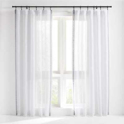 "Bordered White Sheer Linen Curtain Panel 52""x108"" - Crate and Barrel"