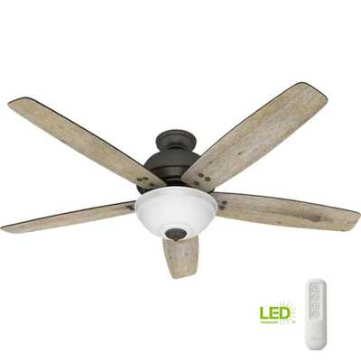 Reveille 60 in. LED Indoor Noble Bronze Ceiling Fan with Light and Remote - Home Depot