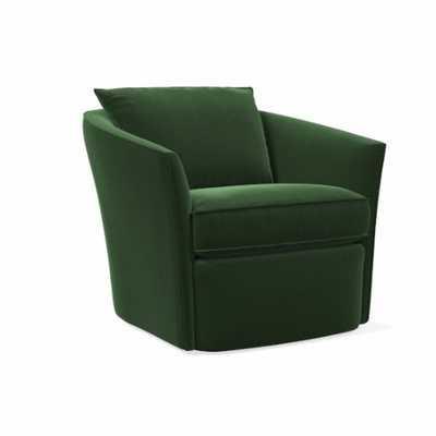 Duffield Swivel Chair, Performance Velvet, Moss - West Elm