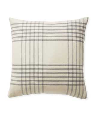 """Blakely Plaid 24""""SQ. Pillow Cover - Ivory/Grey - Insert sold separately - Serena and Lily"""