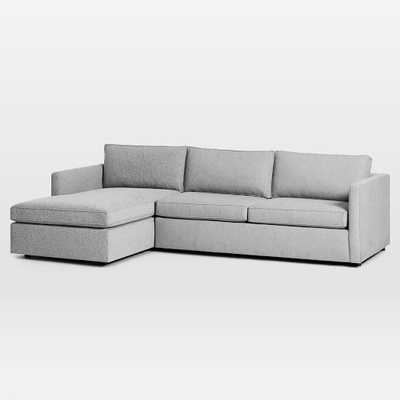 "Harris Sectional Set 06: Right Arm 65"" Sofa, Left Arm Storage Chaise, Poly, Chenille Tweed, Irongate - West Elm"