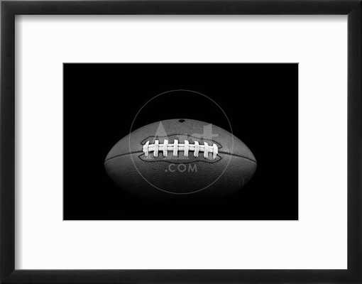 "Classic American Football -   12"" x 8"" - Chelsea Black Frame -   2.5"" Crisp - Bright White Mat - Acrylic: Clear - art.com"