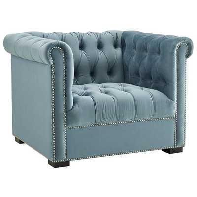 HERITAGE UPHOLSTERED VELVET ARMCHAIR IN SEA BLUE - Modway Furniture