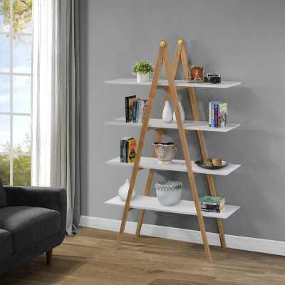 A-Frame Multi-Toned Bookcase In Walnut - Wayfair