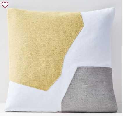 "Corded Minimalist Geo Pillow Cover, Yellow Stone, 20""x20"" - West Elm"
