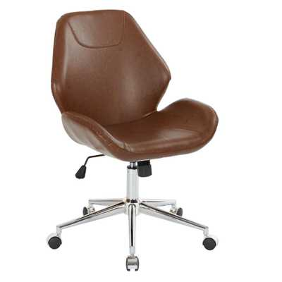Chatsworth Saddle Faux Leather Office Chair with Chrome Base - Home Depot