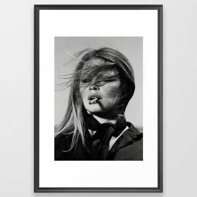 Brigitte Bardot Smoking a Cigarette, Black and White Photograph Framed Art Print - Society6