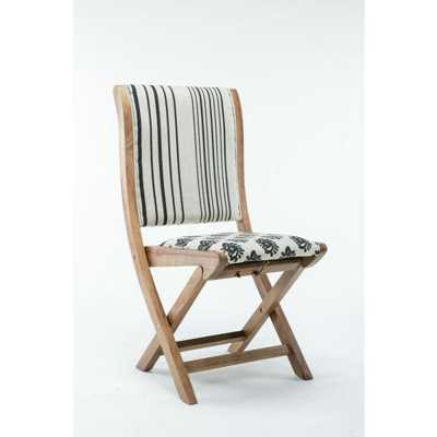 Misty Black and White Pattern #2 Wood Folding Chair with Cushion - Home Depot