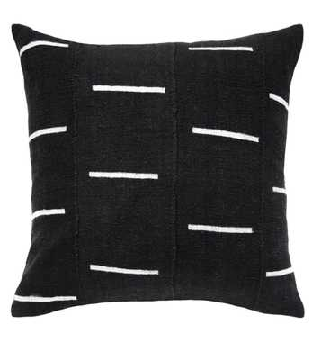 black mud cloth pillow with white dashes - PillowPia