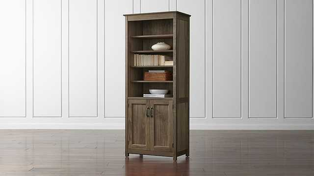 Ainsworth Walnut Media Tower with Glass/Wood Doors - Crate and Barrel