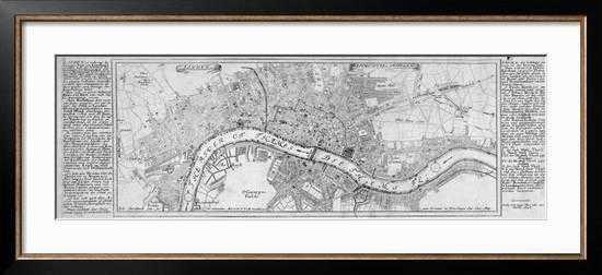 MAP OF LONDON, 1700 By Augustae Vindelicorum,  Allegro Bronze Frame, 42 x 14 - art.com