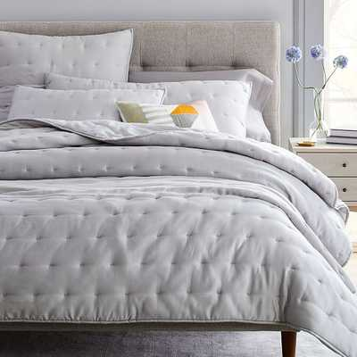 Tencel Crescent Stitch Quilt & King Sham, Frost Gray, King - West Elm