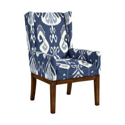 Marlene Dining Chair without Nailheads - Toscana Ikat Blue - Ballard Designs
