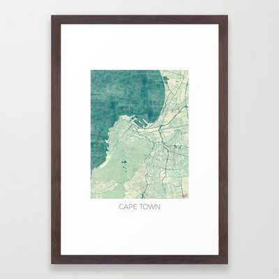 Cape Town Map Blue Vintage Framed Art Print - Society6