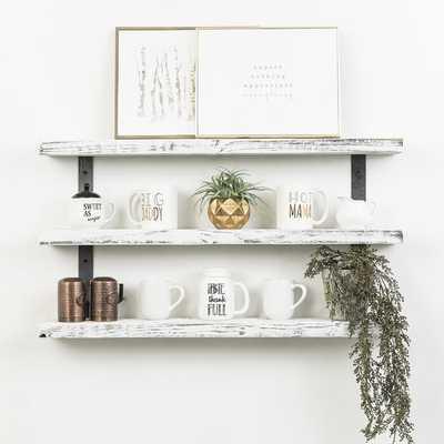 "Tressie Industrial 3-Tier Wall Shelf - White - 36"" - Wayfair"