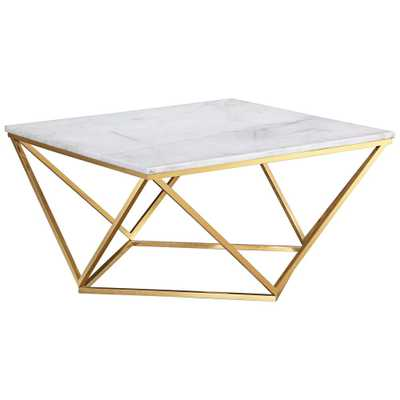 Leopold White and Gold Cocktail Table - Style # 20M28 - Lamps Plus