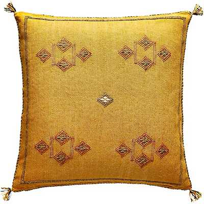 """20"""" cactus silk mustard yellow pillow with feather-down insert - CB2"""