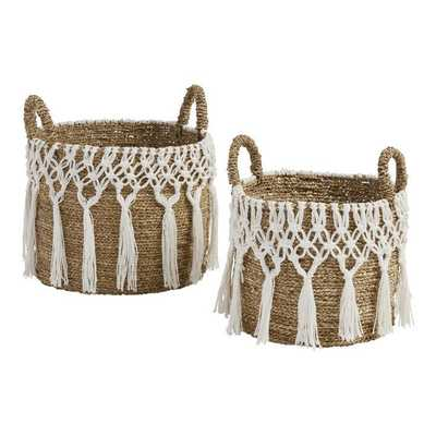 Small Natural Seagrass Haven Basket With White Macrame - World Market/Cost Plus