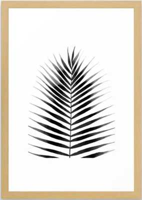 Palm Leaf Watercolor | Black and White Framed Art Print - Society6