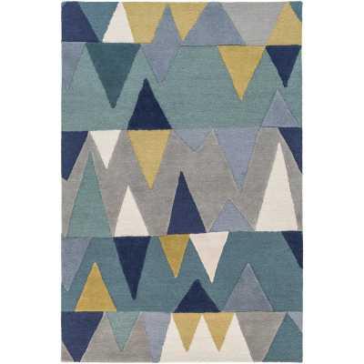 Nida Hand-Tufted Wool Blue Area Rug - Wayfair