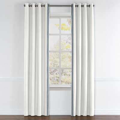 Classic Linen Drapes, Cloud with Greek Key Pattern trim with privacy lining, black grommet - Loom Decor