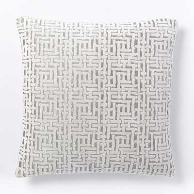 "Allover Crosshatch Jacquard Velvet Pillow Cover, Stone White, 20""x20"", Set of 2 - West Elm"