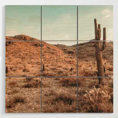 Saguaro Mountain // Vintage Desert Landscape Cactus Photography Teal Blue Sky Southwestern Style Wood Wall Art - Society6