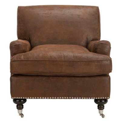Chloe Brown/Espresso (Brown/Brown) Faux Leather Club Arm Chair - Home Depot